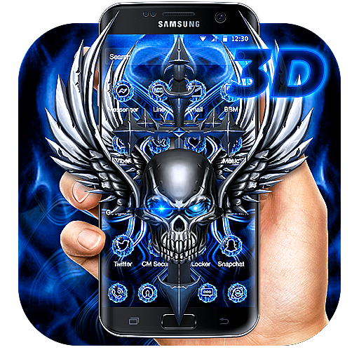 3D Blue Tech Angel Skull Theme APK